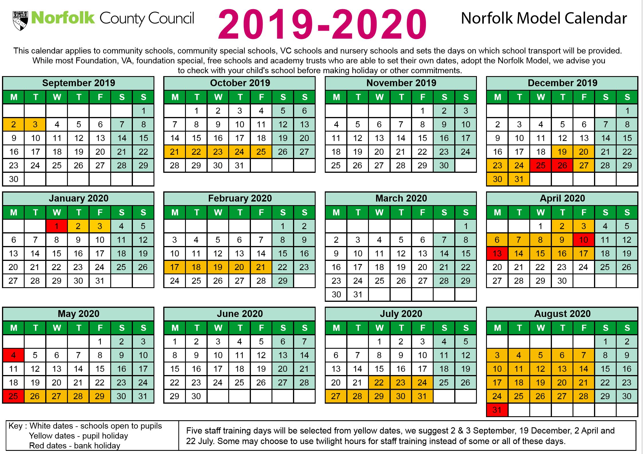 Norfolk Schools Timetable, 2019-2020